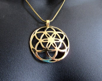 Seed of Life Curved Circle Pendant - Necklace Spiritual jewellery Yogi Jewellery Geometry Jewellery Handmade Free UK delivery BP3