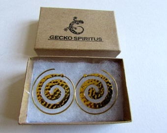 Spiral Brass Dotted Earrings handmade, Tribal Earrings, Nickel Free, Indian Jewellery, Gift boxed,Free UK postage BG7