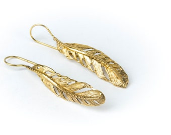 Feather Hook earrings handmade, Brass, Indian Style , Tribal Earrings, Feather Jewellery, Gift boxed, Free UK post BG1