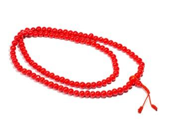 Mala Meditation Beads Coral Gemstone Ohm 108 Mala beads Yoga Jewellery Prayer Beads Buddhist Free UK Delivery + Gift Bag M2