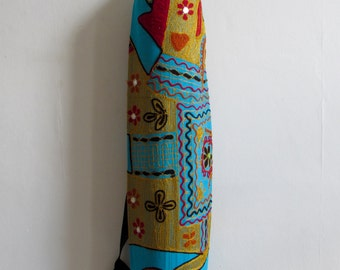Yoga Mat Bag Pilates Mat Bag handmade Turquoise bag with Tapestry Indian Elephant  free UK delivery (b12) Free gift