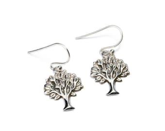 Dainty Sterling Silver Tree of Life Earrings, handmade,Yoga Earrings with hooks, Gift boxed,Free UK post