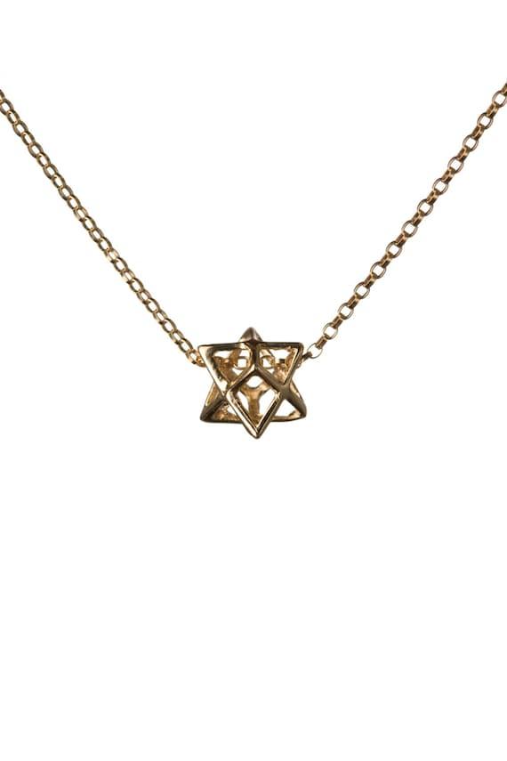 """925 de Plata y Oro Doble estrellas de mar Estrella Colgante Collar 18/"""" Damas vendedor del Reino Unido"""
