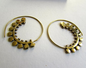 Spiral Brass Earrings handmade, Tribal Earrings, Nickel Free, Indian Jewellery, Gift boxed,Free UK postage B12