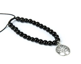 Black Onyx Gemstone Bracelet Tree Of Life Charm Macrame Adjustable Bracelet Unisex Yoga Jewellery Yogi Bracelet Giftbag  Free UK Delivery