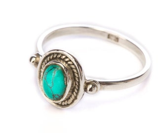 Sterling SilverTurquoise Gemstone Handmade Boho Ring Gift Boxed , Free UK Delivery ST3