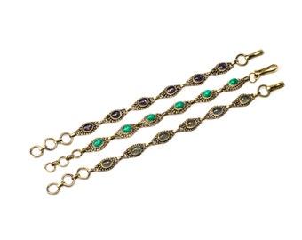Dainty Amethyst,  Malachite, Labradorite Gemstone Brass Bracelet Adjustable Gift Boxed + Giftbag + Free UK Delivery