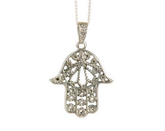 Hamsa Hand of Fatima Sterling Silver Necklace Pendant Handmade Free delivery