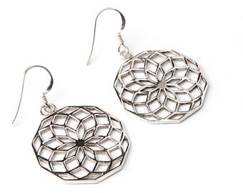 Star Of Life Sterling Silver Earrings handmade,Yoga Earrings with hooks, Geometry Jewellery  Gift boxed,Free UK post