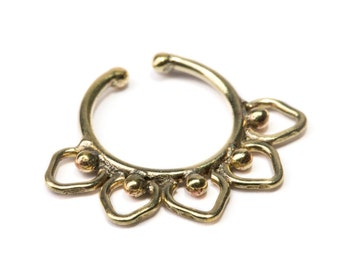 Septum Ring Brass Nickel Free Septum Fake Septum Tribal Jewelery Indian Nose Ring B13 Gift Boxed and Gift Bag Free UK Delivery