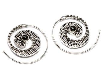White Brass Tribal dotted Design Spiral Earrings With Black Onyx Gemstone Tribal Earrings Mandala Jewellery Free UK Delivery WB45
