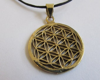 Flower of Life brass pendant On Wax Cord Yoga Jewellery Sacred Geometry Adjustable Unisex Free UK Shipping + Gift Bag CH1