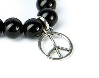 Black Onyx Gemstone Bracelet Peace Charm Macrame Adjustable Bracelet Unisex  Giftbag  Free UK Delivery