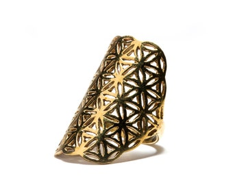 Flower Of Life Ring Brass Sacred Geometry Ring, Yoga Jewellery,  Tribal Jewellery Gift Boxed + Gift Bag , Free UK Delivery D2