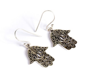 Hamsa Sterling Silver Earrings Spiritual Jewellery Protection Jewelry Free UK Delivery Gift Boxed Same Day Dispatch