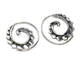 White Brass Tribal Shell Design Spiral Earrings Tribal Earrings Mandala Jewellery Free UK Delivery WB43 WBS1