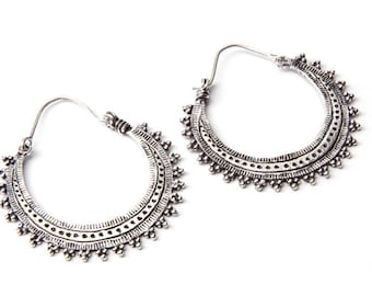 White Brass Detailed Dots and Etchings Hoop  Earrings Tribal Earrings Mandala Jewellery Free UK Delivery Gift Boxed WB9 WBH1