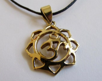 Dainty Om Ohm Aum brass Lotus design pendant On Wax Cord Yoga Jewellery Adjustable Unisex Free UK Shipping + Gift Bag CH3