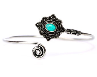 Boho Tribal Bangle Turquoise Gemstone Bracelet Adjustable Gift Boxed + Giftbag + Free UK Delivery WBB16