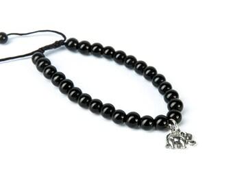 Black Onyx Gemstone Bracelet Elephant Charm Macrame Adjustable Bracelet Unisex  Giftbag  Free UK Delivery