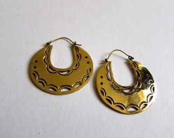 Large Flat Hoop Earrings with clasp handmade, Brass, African Earrings , African Jewellery, Circle Earrings, Gift boxed,Free UK post BG1