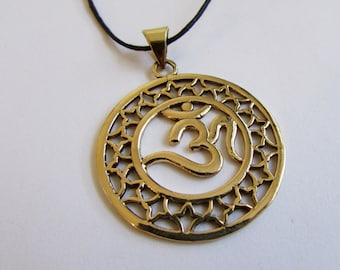 Circle Om Ohm Aum brass pendant On Wax Cord Yoga Jewellery Adjustable Unisex Free UK Shipping + Gift Bag