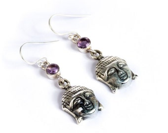 Buddha Sterling Silver Earrings With Amethyst Gemstone Yoga Jewellery Yogi Jewelry Free UK Delivery Gift Boxed
