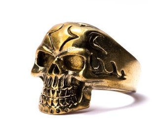 Skull Ring Brass Gothic Tribal Unisex Jewellery  Skull Jewelry Gift Boxed + Gift Bag , Free UK Delivery SK3