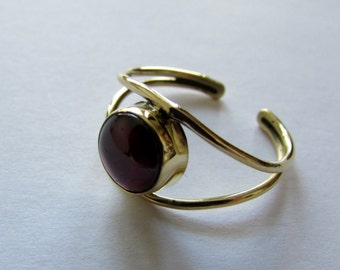 Adjustable Garnet Gemstone Ring Brass, Handmade, Boho Rings, Tribal Jewellery Gift Boxed + Gift Bag , Free UK Delivery G1