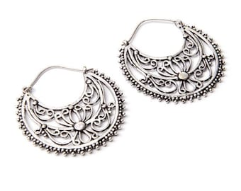 White Brass Detailed Dots Hoop  Earrings Tribal Earrings Mandala Jewellery Free UK Delivery Gift Boxed WB13
