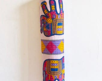 Yoga Mat Bag Pilates Mat Bag Cotton Block Print Multi Colour Elephant Design (b5) Bespoke Free UK Delivery Free Gift Choice