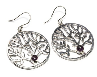 White Brass Circle Tree of Life Earrings With Amethyst Gemstone ,handmade,Yoga Earrings with hooks, Gift boxed,Free UK post WB38