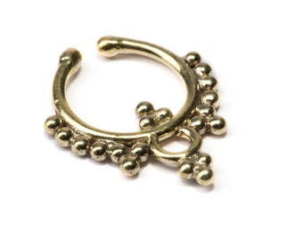 Septum Ring Brass Nickel Free Septum Fake Septum Tribal Jewelery Indian Nose Ring B24 Gift Boxed and Gift Bag Free UK Delivery