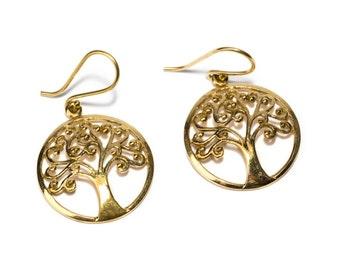 Brass Circle Tree of Life Earrings, Earrings handmade, Yoga Earrings, Nickel Free, Indian Jewellery, Gift boxed,Free UK post BG10