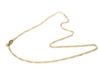 """Brass Figaro 17"""" Chain Brass Necklace  Thin Brass Chain  Free UK Delivery"""