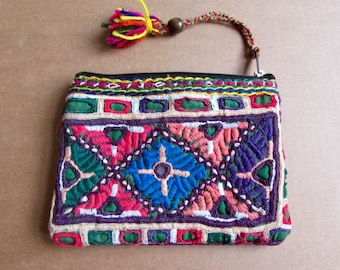 Banjara Wallet, Coin Purse, Handmade, Vintage Boho Purse Tribal Clutch Bag. Free UK Shipping B7