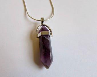 "Amethyst Crystal Point Healing Crystal Point Pendant 16"" 18"" 20"" 22"" 24""  Unisex Free UK Shipping + Gift Bag CHG2"