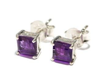 Amethyst Gemstone Sterling Silver Stud Earrings Simple Jewellery Dainty Jewellery  Free UK Delivery Gift Boxed