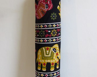 Yoga Mat Bag Pilates Mat Bag handmade Indian Green, Red & Yellow Elephants  free UK delivery (b49) Free gift