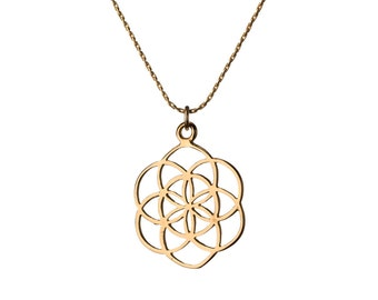 Seed of Life Gold Filled Pendant Necklace Spiritual jewellery Yogi Jewellery Geometry Jewellery Handmade Free UK delivery GP10