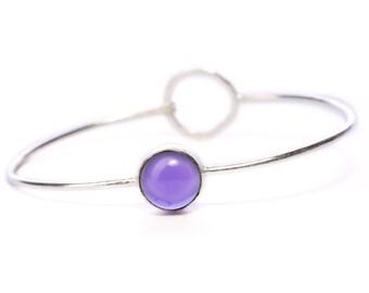 Boho Dainty Bangle Amethyst  Gemstone Bracelet Adjustable Gift Boxed + Giftbag + Free UK Delivery WBB8
