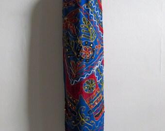 Yoga Mat Bag Pilates Mat Bag handmade Indian Elephant blue bag ,Sequins (b23) free UK delivery  Free gift