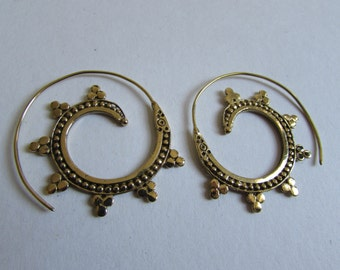Spiral Brass Dotted Earrings handmade, Tribal Earrings, Nickel Free, Indian Jewellery, Gift boxed,Free UK postage BG11