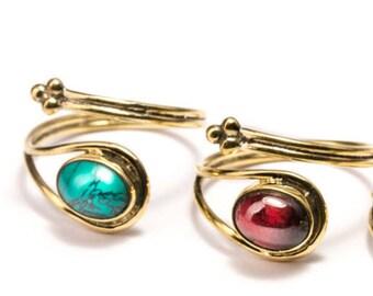 Adjustable Gemstone Rings Brass,Turquoise or Garnet Gemstone TG Handmade, Boho Rings, Boho Jewellery Gift Boxed , Free UK Delivery