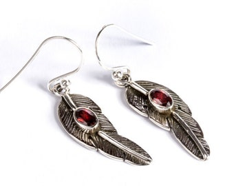 Dainty Sterling Silver Feather Earrings With Garnet Gemstone  Free UK Delivery Gift Boxed
