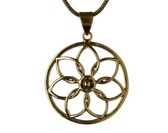 Mandala Circle Flower Design Pendant - Necklace Spiritual jewellery Yogi Jewellery Jewellery Handmade Free UK delivery BP2