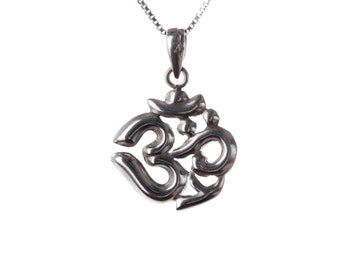Om Ohm Aum Necklace, Sterling Silver, Hindu Om, Yoga Jewellery, Yogi Jewelry, Handmade, Gift box, Free UK Delivery