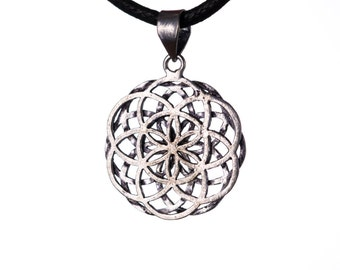Seed of Life Pendant On Adjustable Cord Necklace Spiritual jewellery Yogi Jewellery Geometry Jewellery Handmade Free UK delivery WBP1