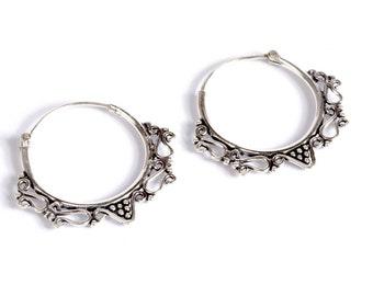 Mandala Sterling Silver Hoop Earrings Tribal Earrings Jewellery Free UK Delivery Gift Boxed
