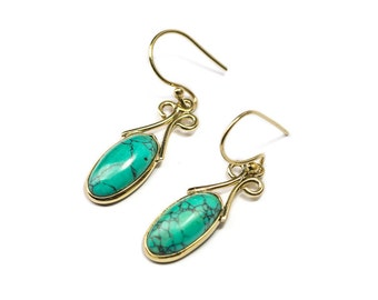 Turquoise and Brass Dangle and Drop Dainty Earrings Gemstone Earrings Free UK Delivery Gift Boxed BHG1